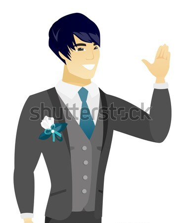 Asian confused groom with spread arms. Stock photo © RAStudio