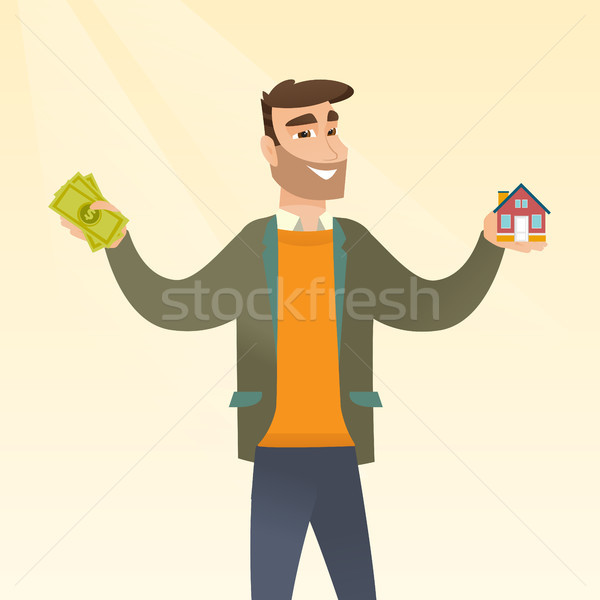 白人 男 買い 家 感謝 ローン ストックフォト © RAStudio