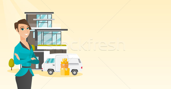 Young caucasian woman moving to a house. Stock photo © RAStudio