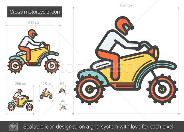 Atravessar motocicleta linha ícone vetor isolado Foto stock © RAStudio