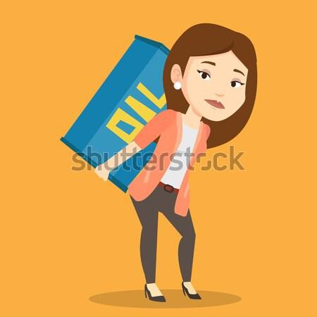 Woman carrying oil barrel vector illustration. Stock photo © RAStudio