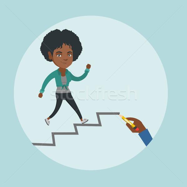 African employee running up the career ladder. Stock photo © RAStudio