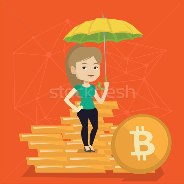 Fiatal nő esernyő bitcoin érmék fiatal kaukázusi Stock fotó © RAStudio