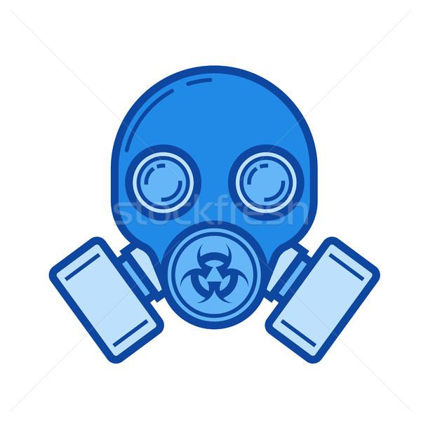 Gaz maskesi hat ikon vektör yalıtılmış beyaz Stok fotoğraf © RAStudio
