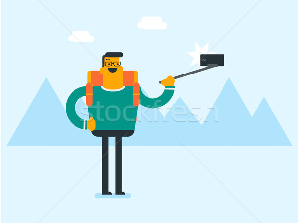 Young caucasian white traveler man making selfie. Stock photo © RAStudio