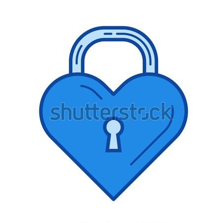 Foto stock: Coração · trancar · linha · ícone · vetor · isolado
