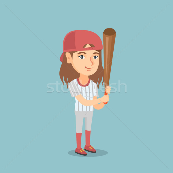 Young caucasian baseball player with a bat. Stock photo © RAStudio