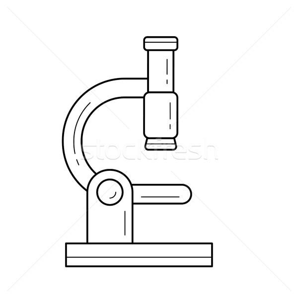 Microscopio line icona vettore isolato bianco Foto d'archivio © RAStudio
