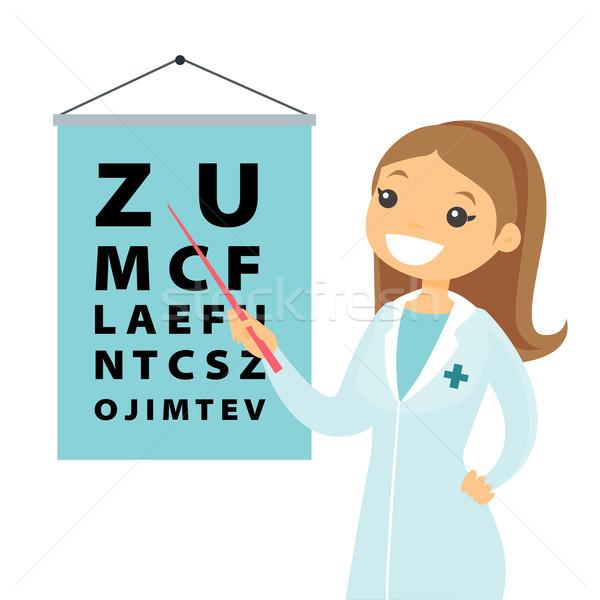 Caucasian white ophthalmologist with eye chart. Stock photo © RAStudio