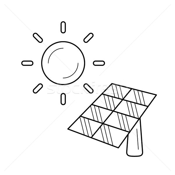 Energia solar indústria vetor linha ícone isolado Foto stock © RAStudio