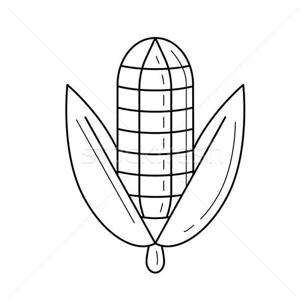 Corn cob vector line icon. Stock photo © RAStudio