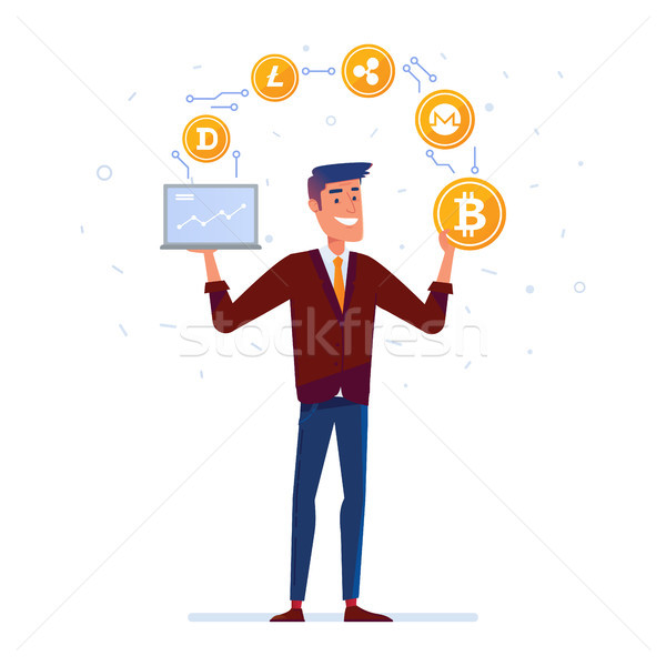 Caucasian man juggles with crypto currency coins Stock photo © RAStudio