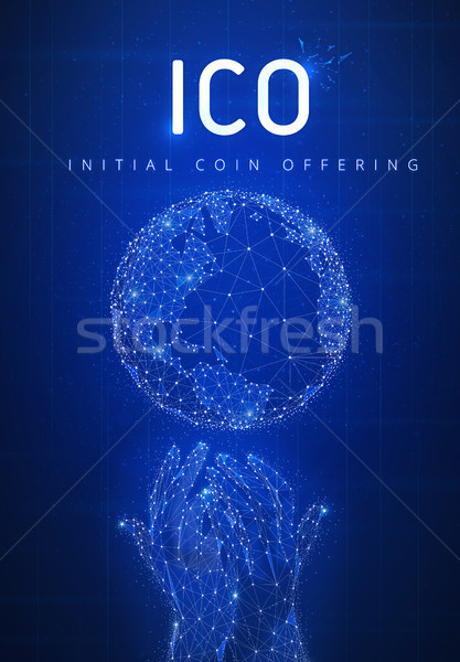 ICO initial coin offering futuristic hud banner with globe and h Stock photo © RAStudio