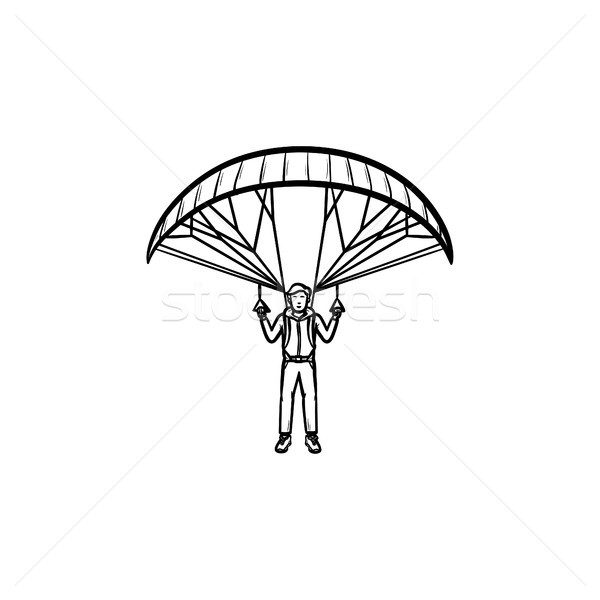 Skydiver with parachute hand drawn outline doodle icon. Stock photo © RAStudio