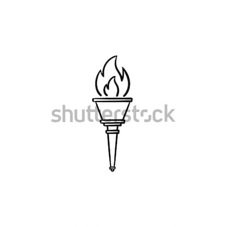Antorcha dibujado a mano garabato icono juegos olímpicos Foto stock © RAStudio