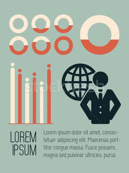 Közösségi média infografika vektor sablon üzlet földgömb Stock fotó © RAStudio