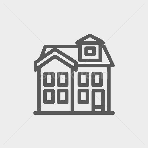 Domu komin cienki line ikona internetowych Zdjęcia stock © RAStudio