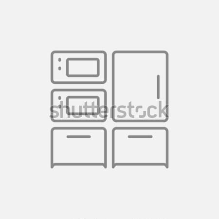 Ev mutfak fırın mikrodalga ince hat Stok fotoğraf © RAStudio