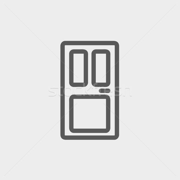 Foto stock: Porta · de · entrada · fino · linha · ícone · teia · móvel