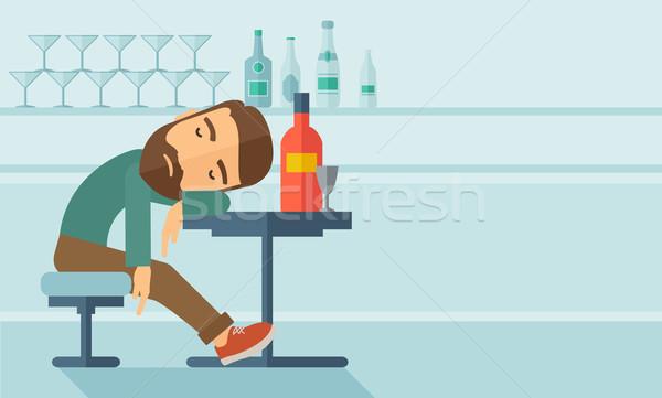 Bêbado homem cair pub sessão Foto stock © RAStudio