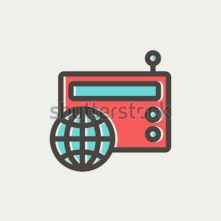 Vintage world radio thin line icon Stock photo © RAStudio