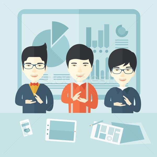 Three speakers clapping their hands. Stock photo © RAStudio