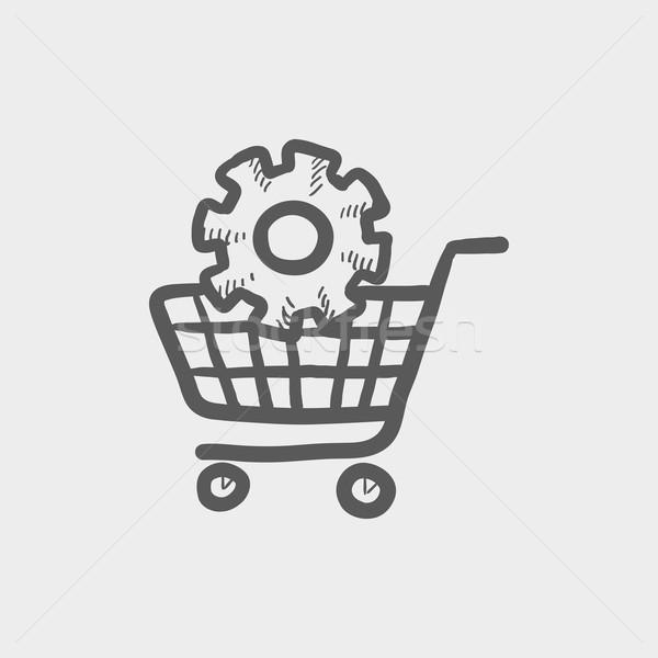 Foto stock: Carrinho · de · compras · engrenagem · esboço · ícone · teia · móvel