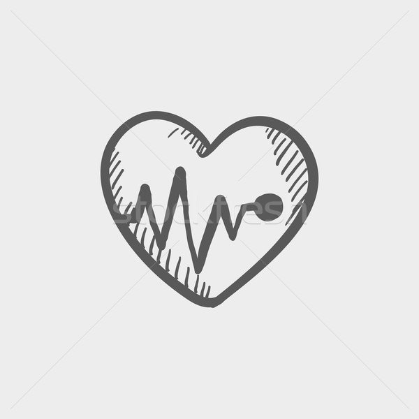 Heart with cardiogram sketch icon Stock photo © RAStudio