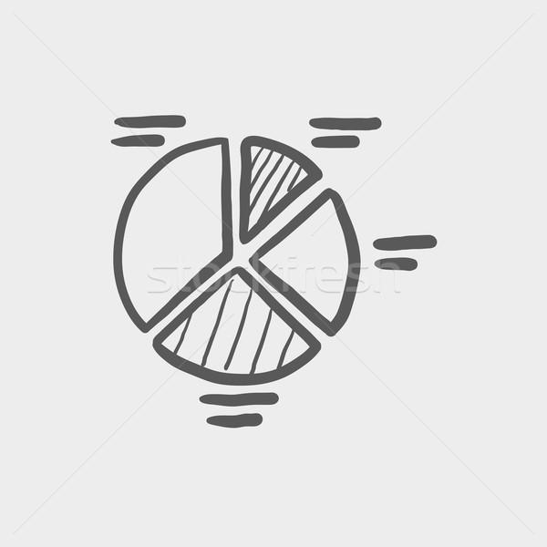 Cirkeldiagram schets icon web mobiele Stockfoto © RAStudio
