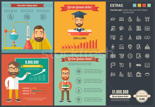 Educación diseno infografía plantilla elementos ilustraciones Foto stock © RAStudio
