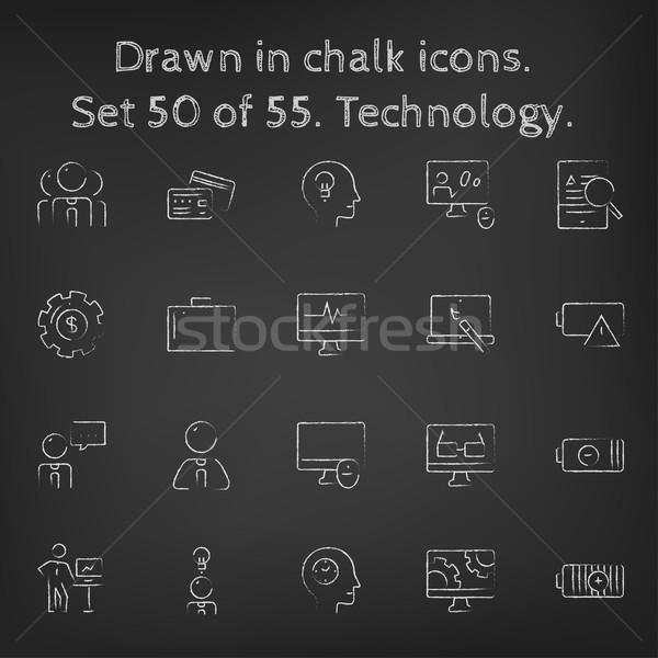Technology icon set drawn in chalk. Stock photo © RAStudio