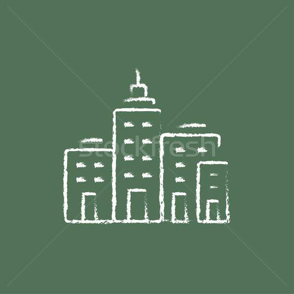Residential buildings icon drawn in chalk. Stock photo © RAStudio