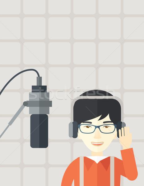 Radio wesoły asian okulary słuchawek Zdjęcia stock © RAStudio
