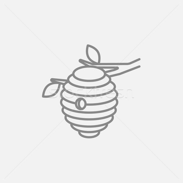 Arı kovan hat ikon web hareketli Stok fotoğraf © RAStudio