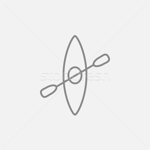 Kayak with paddle line icon. Stock photo © RAStudio