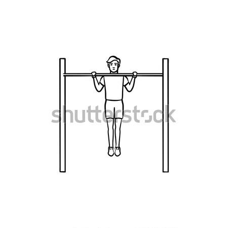 Tornász testmozgás bár vonal ikon háló Stock fotó © RAStudio