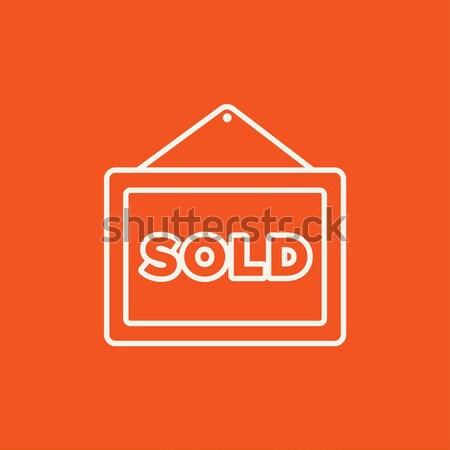 Sold placard line icon. Stock photo © RAStudio
