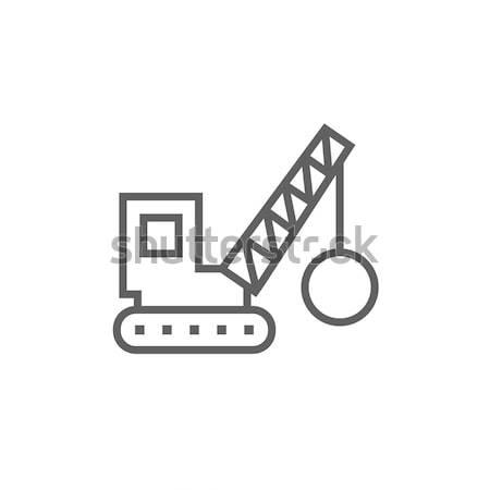 Demolizione gru line icona web mobile Foto d'archivio © RAStudio