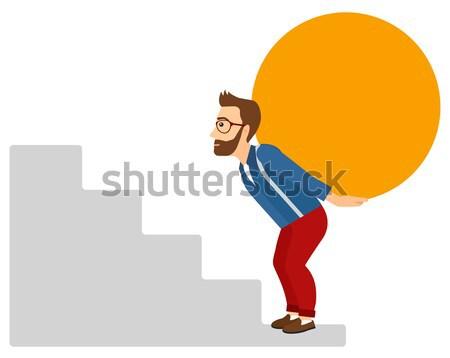 Homem pedra cansado empresário escalada Foto stock © RAStudio