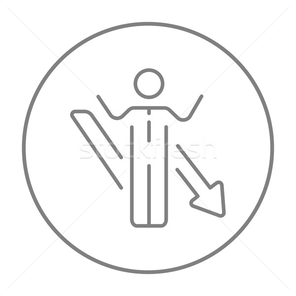 Stok fotoğraf: Işadamı · ok · aşağı · hat · ikon · kaldırdı · ellerini