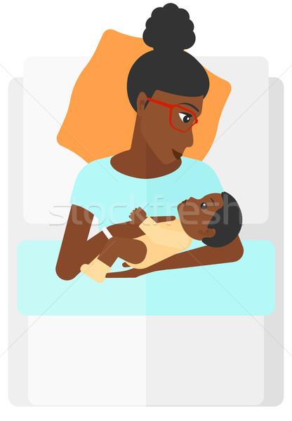 Mujer maternidad cama recién nacido bebé vector Foto stock © RAStudio