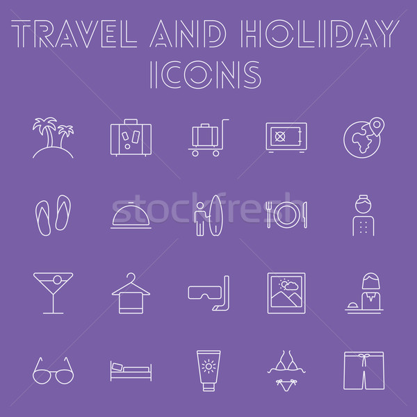 Travel and holiday icon set. Stock photo © RAStudio