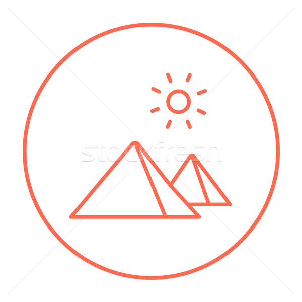 Stock photo: Egyptian pyramids line icon.