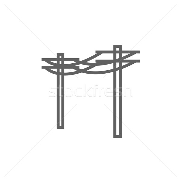 Alta tensão linha ícone teia Foto stock © RAStudio