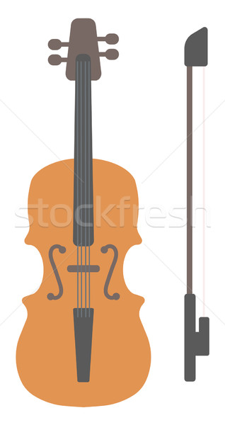 Wooden violin with bow Stock photo © RAStudio