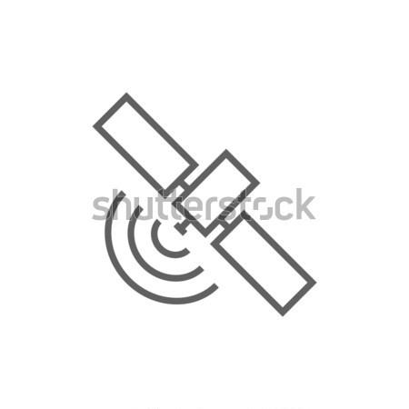 Satelliet lijn icon hoeken web mobiele Stockfoto © RAStudio