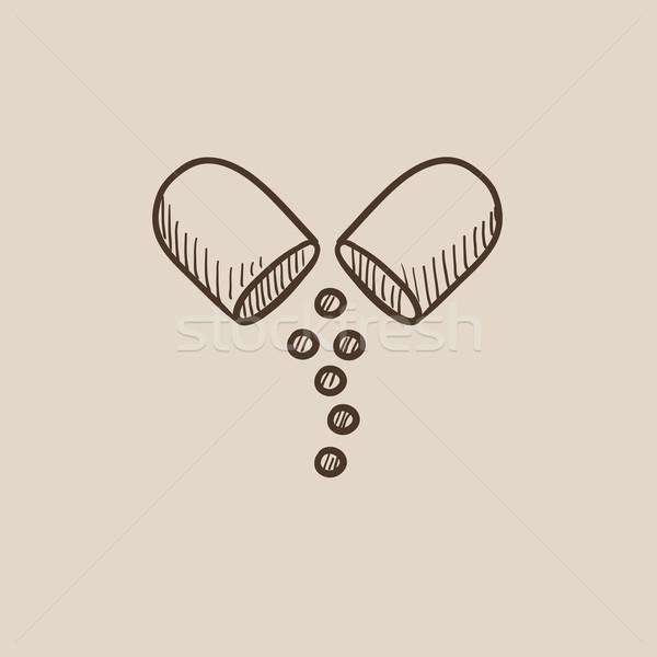 カプセル ピル スケッチ アイコン ウェブ 携帯 ストックフォト © RAStudio