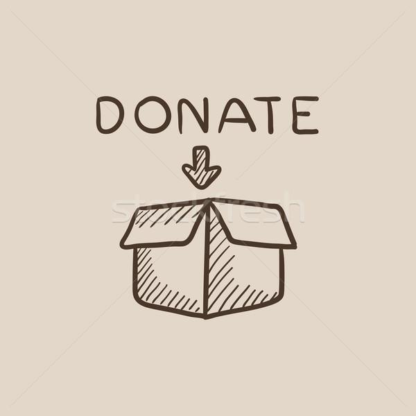 Donatie cutie schiţă icoană deschide web Imagine de stoc © RAStudio