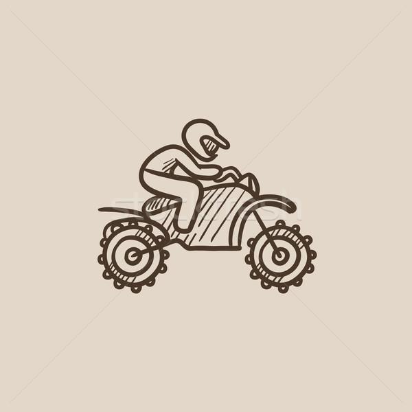 Man riding motocross bike sketch icon. Stock photo © RAStudio