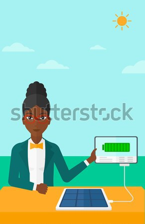 Zonnepaneel asian vrouw blauwe hemel vector Stockfoto © RAStudio